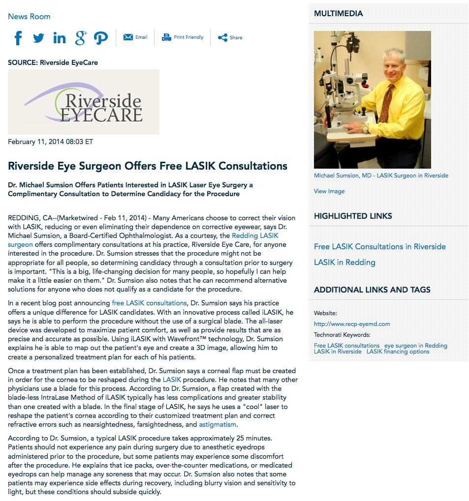 Redding LASIK surgeon, free LASIK consultation, LASIK, astigmatism, financing options, Dr. Michael Sumsion
