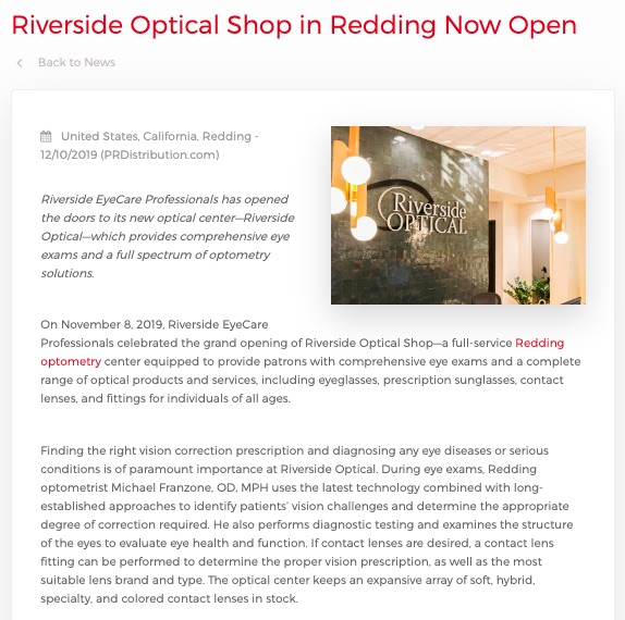 Riverside Optical in Redding Is Now Open