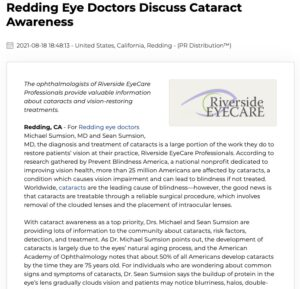 Redding eye doctors, Drs. Michael and Sean Sumsion, discuss cataract screening, surgery, and IOLs to promote cataract awareness.